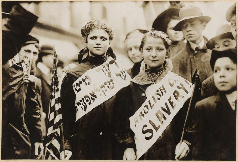 Two girls protesting child labour (by calling it child slavery) in the 1909 New York City Labor Day